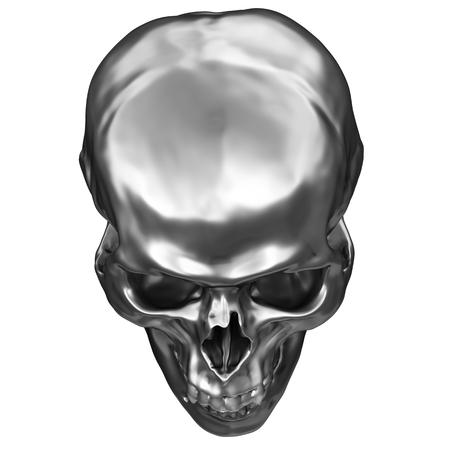 3D illustration of metallic chrome human skull isolated on white background Stock Photo