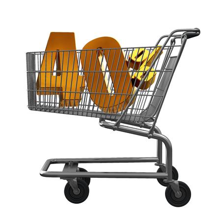 3D illustration of Shopping cart with 40 pocent discount in gold isolated