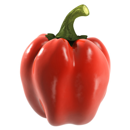Red bell pepper isolated on white background Stock Photo