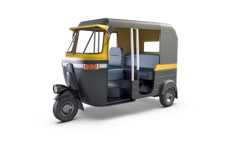 Autorickshaw isolated on white background. Traditional Indian public transport.