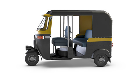 Autorikscha isoliert auf weißem Hintergrund. Traditionelle indische öffentliche Verkehrsmittel. Standard-Bild