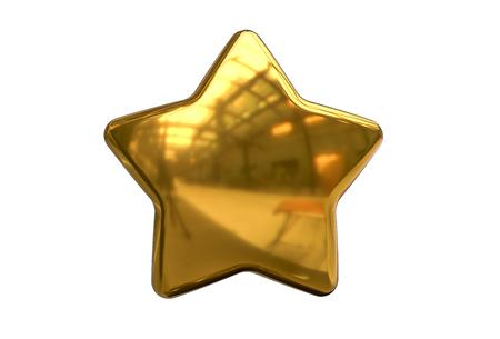 3D render of Golden Christmas Star isolated on white Background. Banco de Imagens