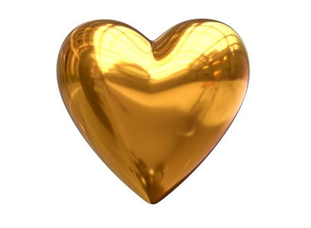 3D Render of metalic golden heart shape isolated on white Stock Photo