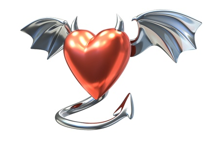 3D render of Metalic Heart shape with devil wings isolated on white background