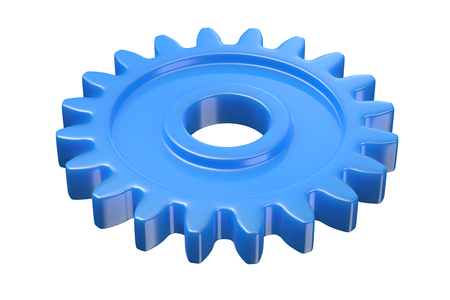 3D render of blue plastic gear isolated on white