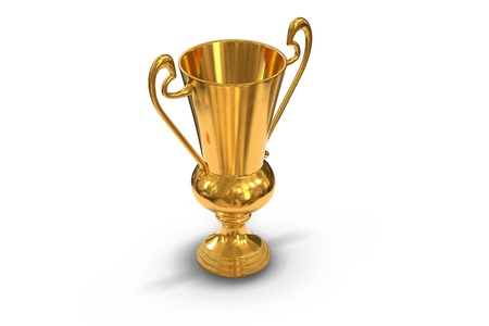 3D render of golden trophy cup isolated on white