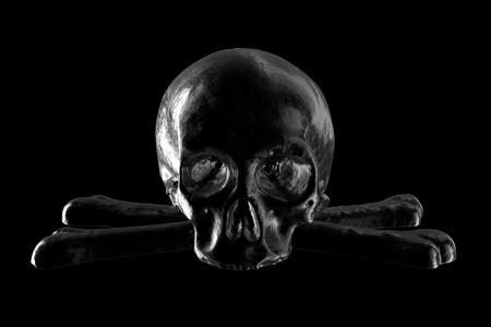 3D render of Black Skull on black background.