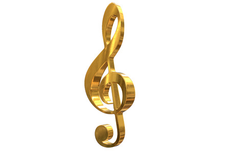 3D render of gold music clef symbol isolated on white 写真素材
