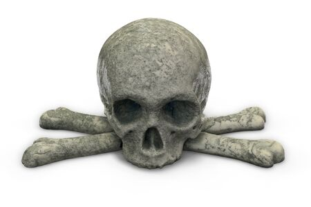 3D render of stone skull and crossbones isolated on white