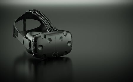 3D render of Virtual Reality goggles on black glossy surface
