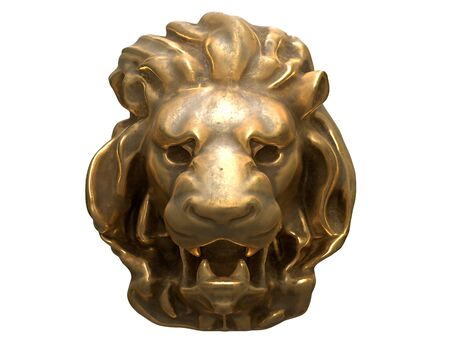 3D render of brass Lion head isolated on white background