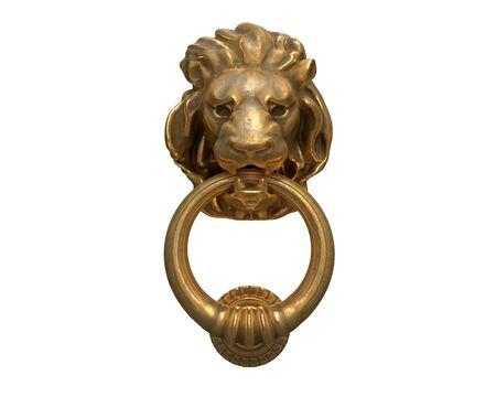 Render 3D de aldaba con una cabeza de león de oro aislada en blanco.
