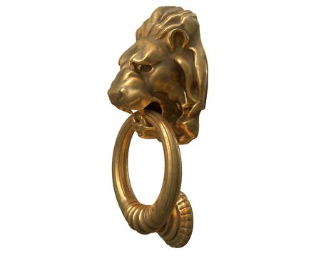 3D render of Door knocker with a gold lion head isolated on white. Reklamní fotografie