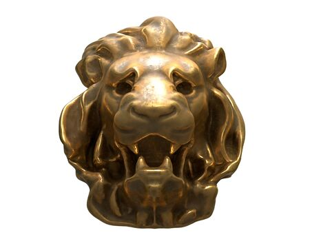3D render of brass Lion head isolated on white