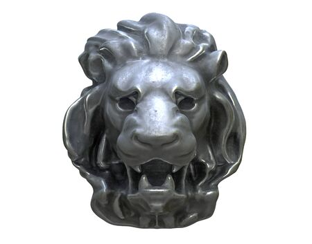 3D render of Metal Lion head isolated on white.