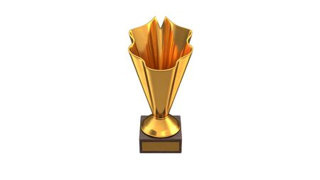 3D render of Gold Trophy Cup isolated on white