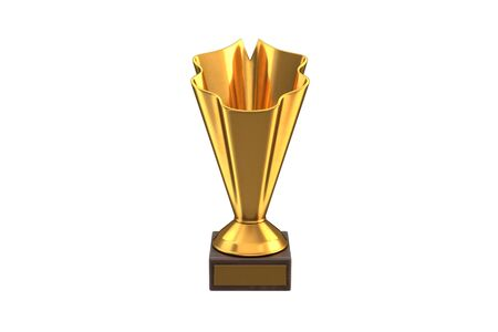 3D render of Gold Trophy Cup isolated on white.