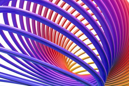 3D render of toy plastic colorful rainbow spiral spring Фото со стока - 130119155