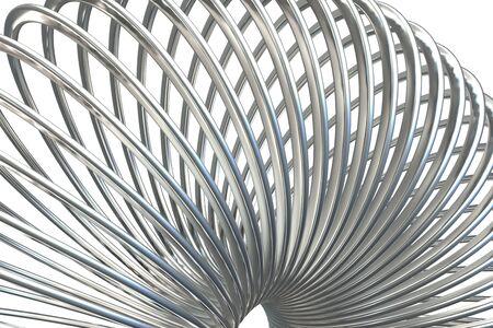 3D render of metallic toy spiral spring