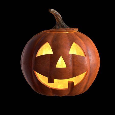 3D übertragen von Scary Halloween Pumpkin Head isoliert auf schwarz.