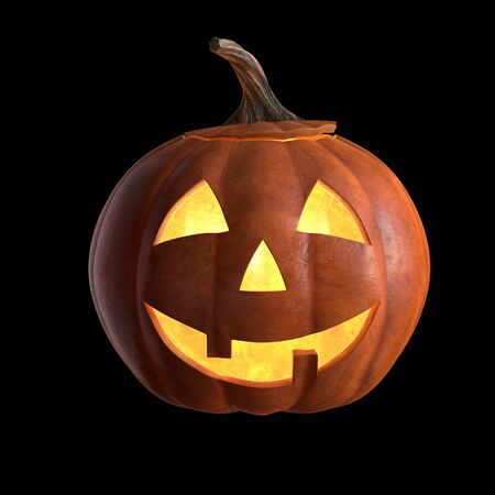 3D render of Scary Halloween Pumpkin Head isolated on black.