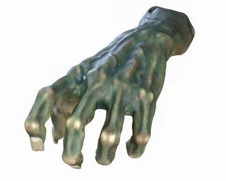 3D render of cutted Zombie hand, Halloween theme.