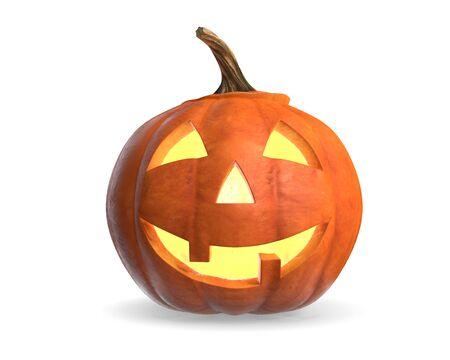 3D render van Scary Halloween Pumpkin Head geïsoleerd op wit. Stockfoto