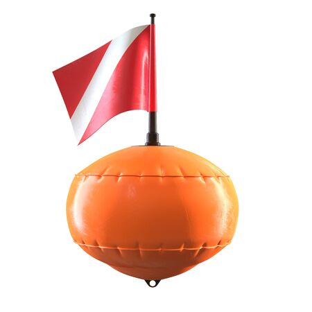3D render of orange diving scuba buoy with flag isolated on white background. 写真素材