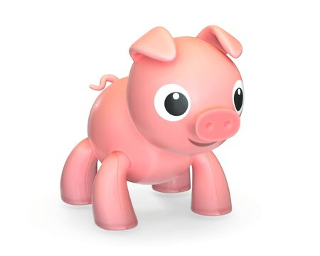 3D render of plastic pink toy pig isolated on white background.