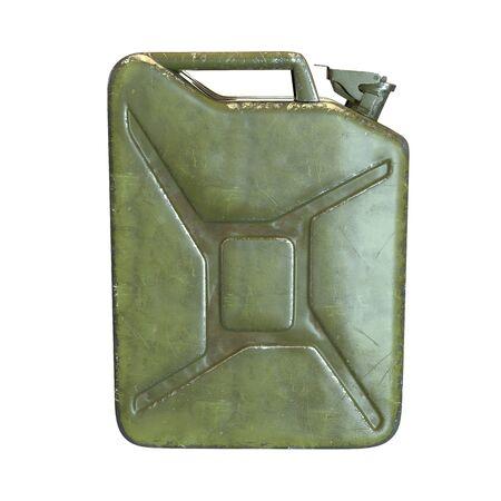 3D-Darstellung des grünen Kanisters isoliert auf weiß