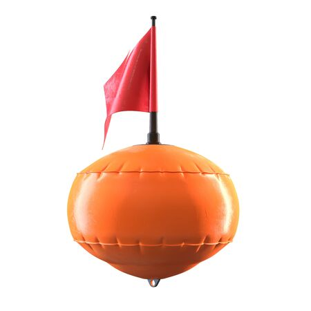 3D render of orange diving scuba buoy with flag isolated on white Stock fotó