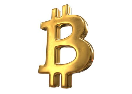 3D render of Golden Bitcoin Sign isolated on white background