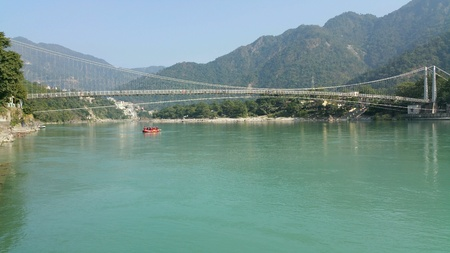 Rishikesh town on the banks of Ganges river.