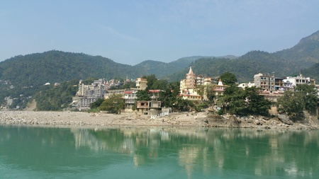 Rishikesh town on the banks of Ganga river.