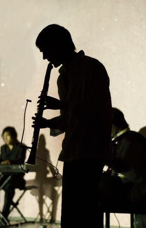 Musician playing jazz on clarinet