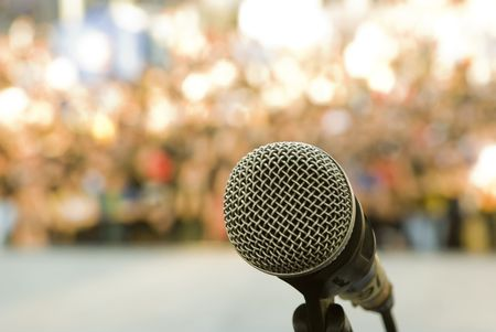 Microphone waiting for singer on the stage Stock Photo