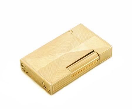 gas lighter: Gold cigarette lighter on white isolated background