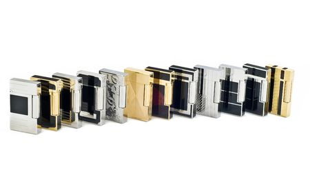 Twelve cigarette lighters on white isolated background photo