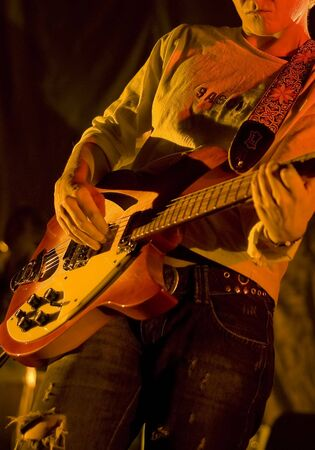 Musician with electric guitar on festival Stock Photo - 2183140