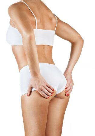 Beautiful healthy training female body isolated on white Stock Photo - 8031529