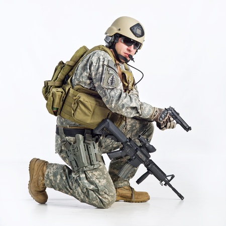SWAT Team Officer on white background Stock Photo - 11588454