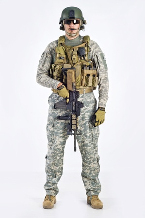 military man: SWAT Team Officer on white background