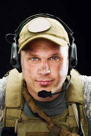 黒い背景に兵士の肖像画 写真素材