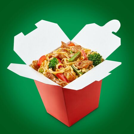Wok noodles box with chopsticks  isolated on white background 写真素材