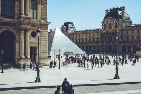 louvre pyramid: Louvre pyramid - Paris France city walks editorial travel shoot Editorial