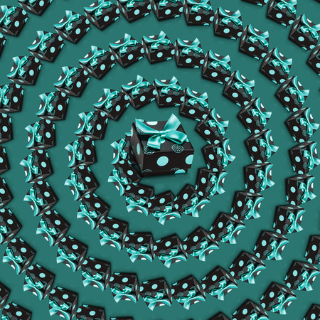 Realistic 3d present boxes spiral green pattern. Top view vortex. Wrapped gifts with bows and ribbons. Concept of holiday, festive background, wallpaper.