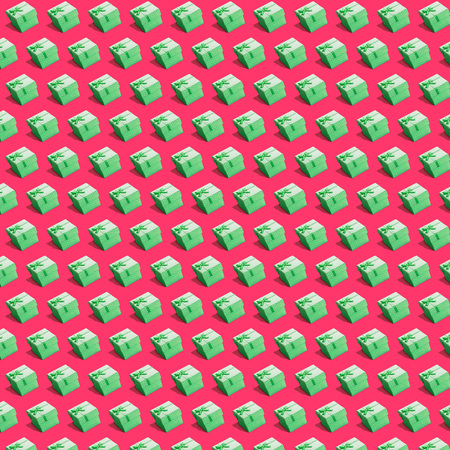 Festive christmas new year birthday seamless pattern design 3d style. Wrapping cute paper isometric Delightful similar objects bedeck with likeable bows and large polka dots 写真素材