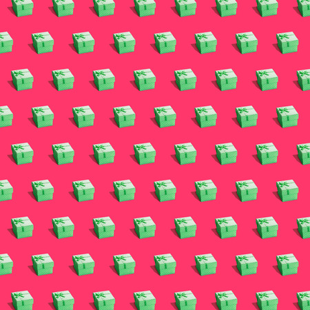 Cute presents endless texture isometric. Festive gifts with bowns ribbons in polka dots 3d style. Wrapping gift paper for christmas birthday new year design. Colored similar images isolated