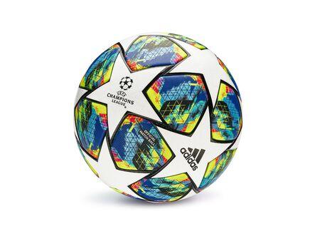 KYIV, UKRAINE, AUGUST 07, 2019: Official match ball of UEFA Champions League season 2019/2020. Close-Up Studio Shot On Plain Background.