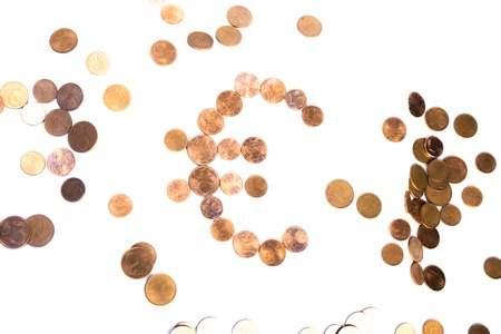 Euro coins collection set isolated on white backgound Stock Photo